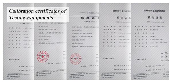 Calibration certificates